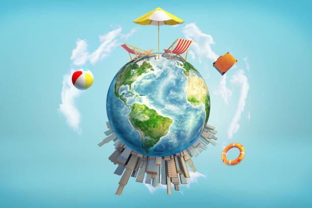 3d darstellung der erdkugel mit einer sonne sonnenschirm und liegestühlen auf seiner oberseite und wolkenkratzer auf der bodenfläche. - schönste reiseziele der welt stock-fotos und bilder