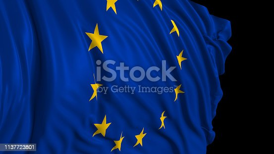 istock 3d rendering of a European flag. The flag develops smoothly in the wind 1137723801