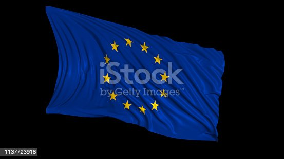 istock 3d rendering of a European flag. The flag develops smoothly in the wind 1137723918