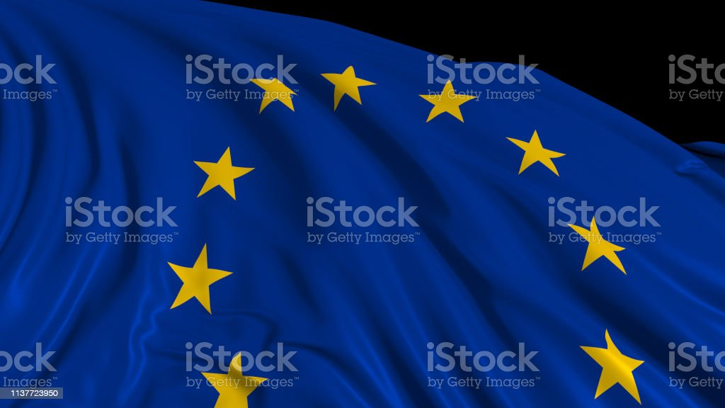 3d rendering of a European flag. The flag develops smoothly in the wind stock photo