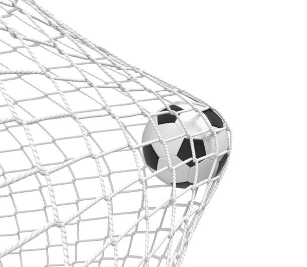 3d-weergave van een voetbal bal raken het net binnen de poort op een witte achtergrond. - soccer goal stockfoto's en -beelden