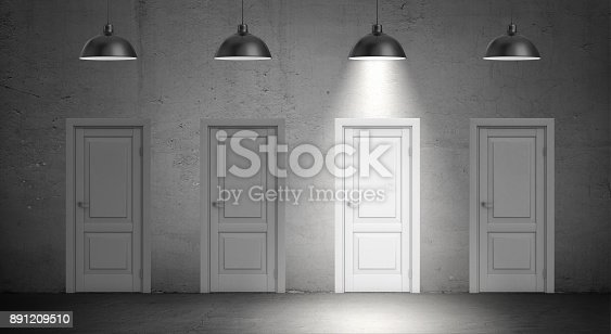 istock 3d rendering of a four industrial lamps hang above identical doors and only one lamp lit up 891209510