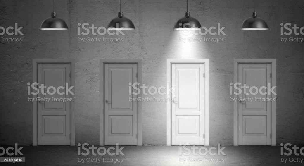 3d rendering of a four industrial lamps hang above identical doors and only one lamp lit up vector art illustration