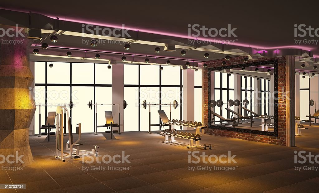3d Rendering Of A Gym Interior Design Stock Photo - Download Image
