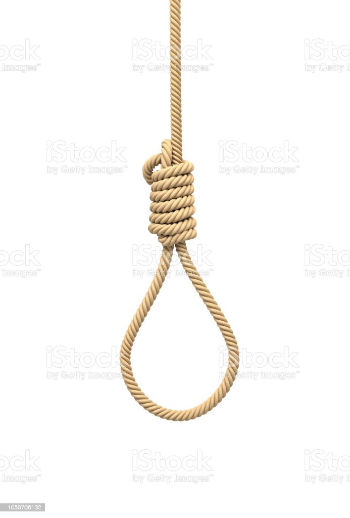 3d Rendering Of A Hangmans Noose Made Of Natural Beige Rope Hanging