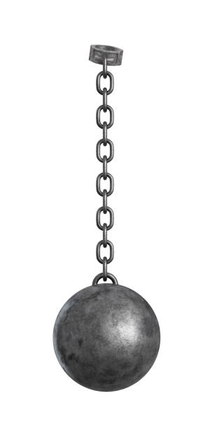 3d rendering of a heavy iron ball connected with a chain to a round shackle. - chain object stock photos and pictures