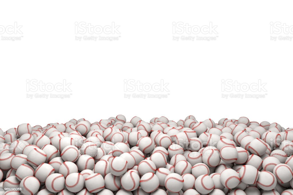 3d rendering of a huge heap of white baseballs with red stitching on a white background royalty-free stock photo
