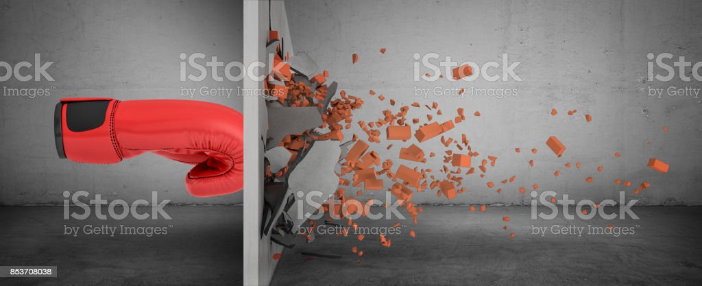 3d rendering of a huge red boxing glove in side view touches a brick wall and smashes it with rubble falling out. stock photo