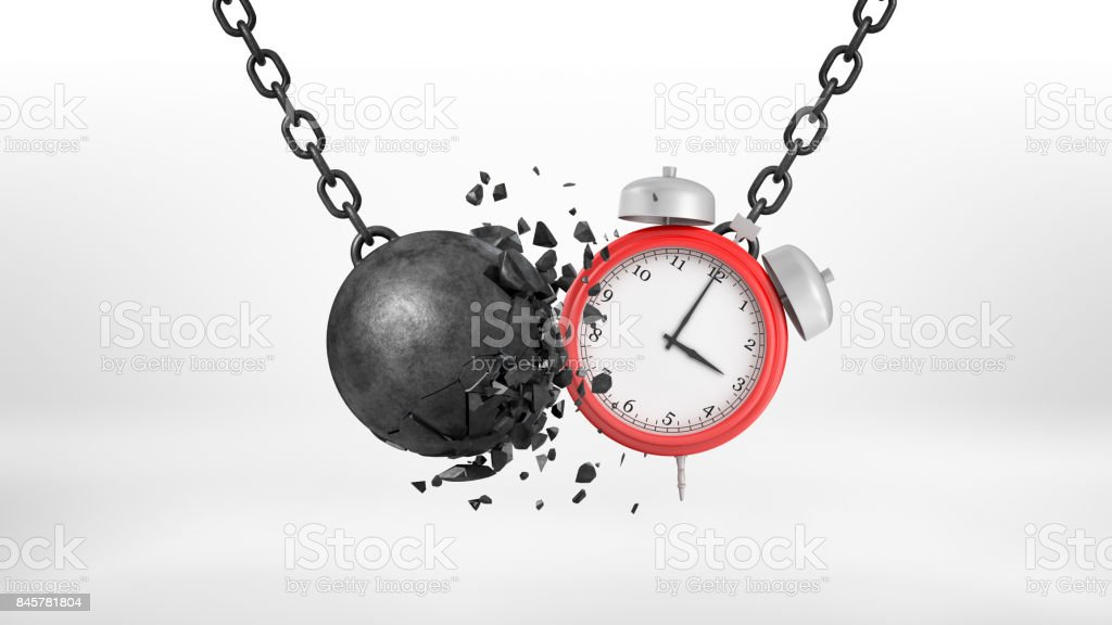 3d rendering of a large alarm clock swings on a metal chain and collides with a crumbling wrecking ball stock photo