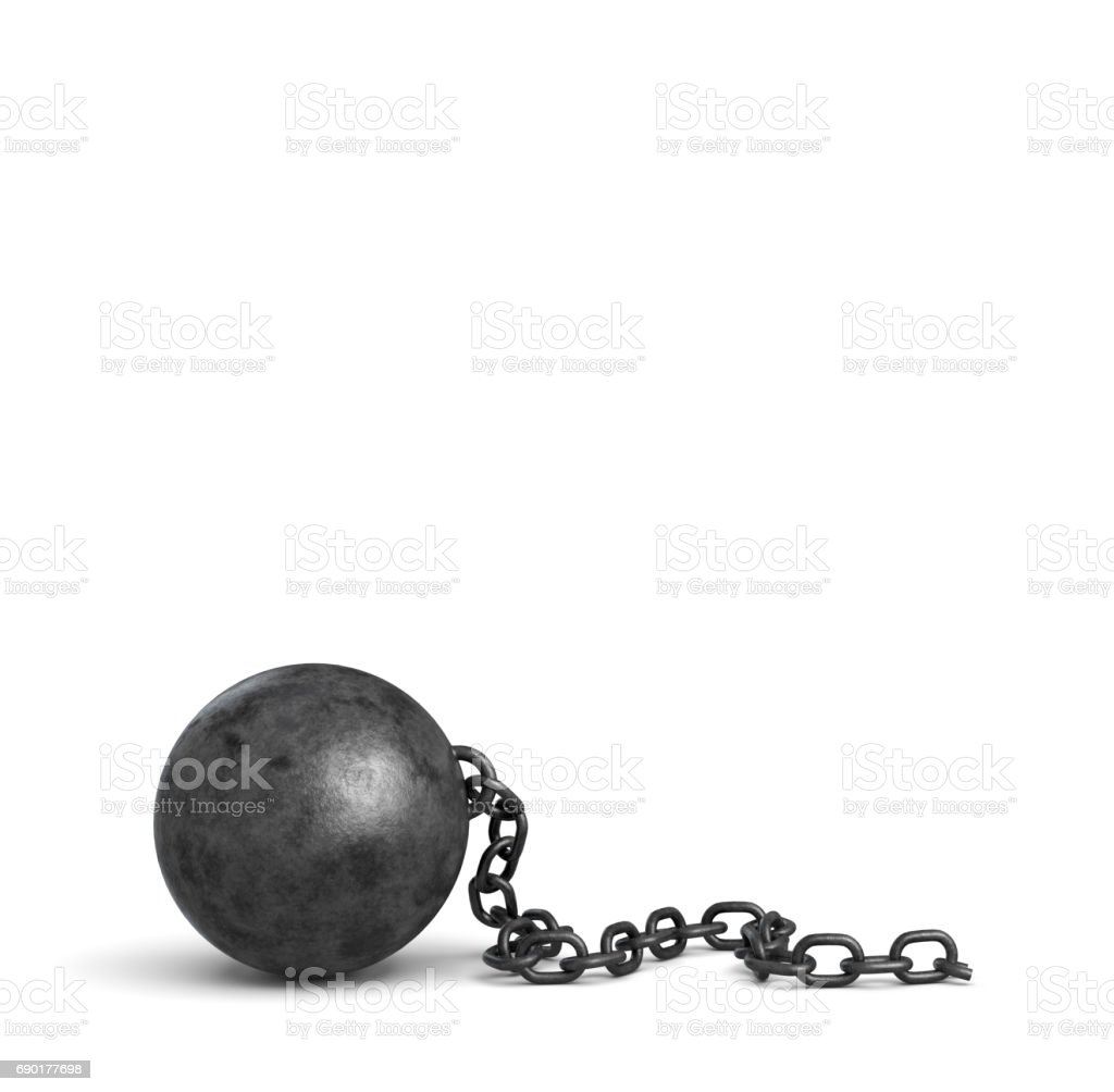 3d rendering of a large black iron ball lying down with a piece of its broken chain stock photo