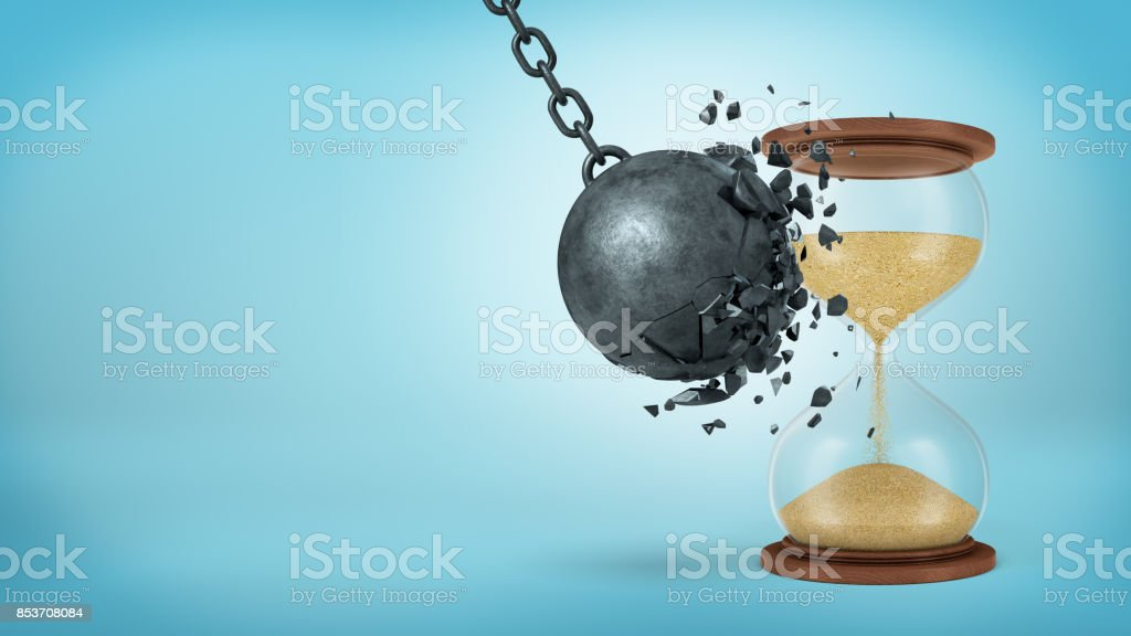 3d rendering of a large black iron wrecking ball breaks when collides with a retro hourglass on blue background. stock photo
