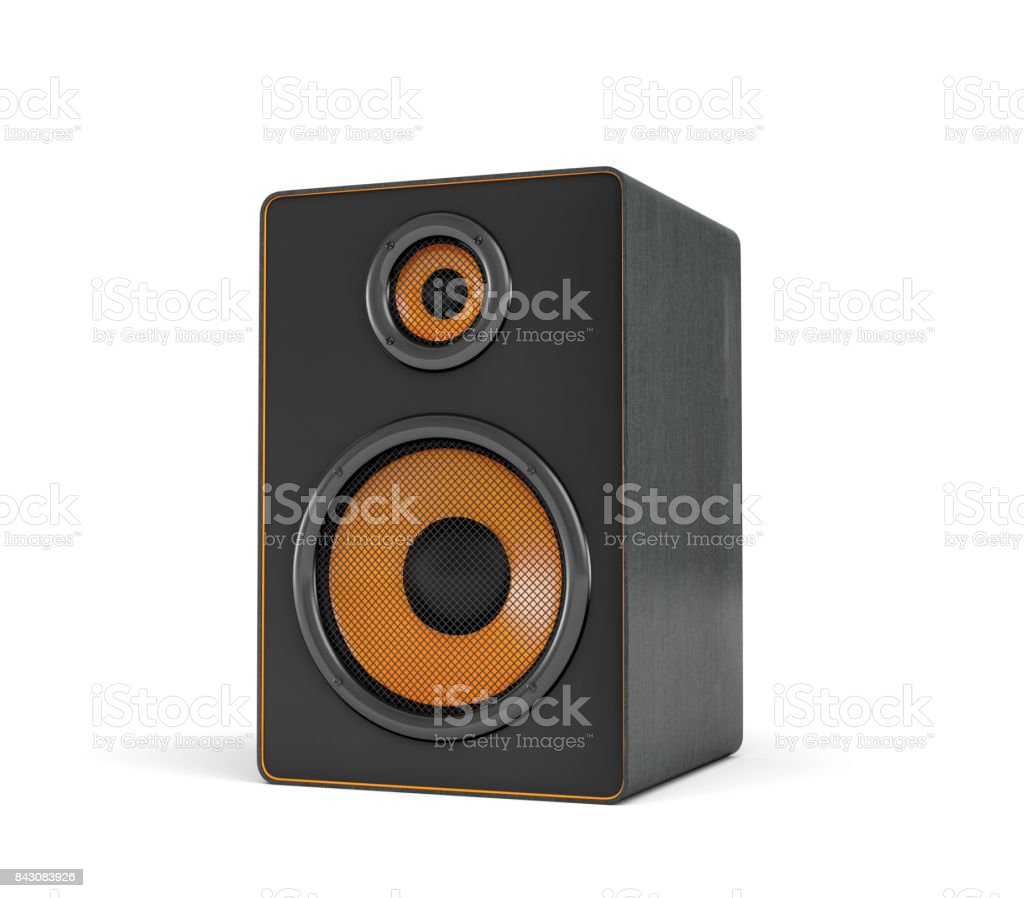 3d rendering of a large black stereo box with two round speakers on white background stock photo