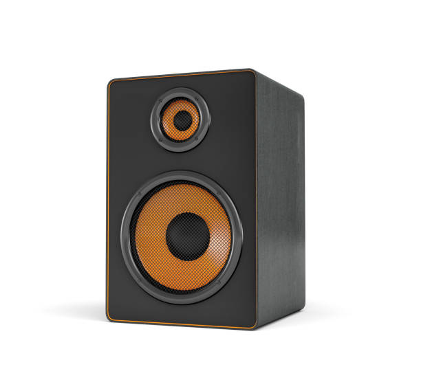 3d rendering of a large black stereo box with two round speakers on white background 3d rendering of a large black stereo box with two round speakers on white background. Sound equipment. Home cinema. Audio appliances. stereo stock pictures, royalty-free photos & images