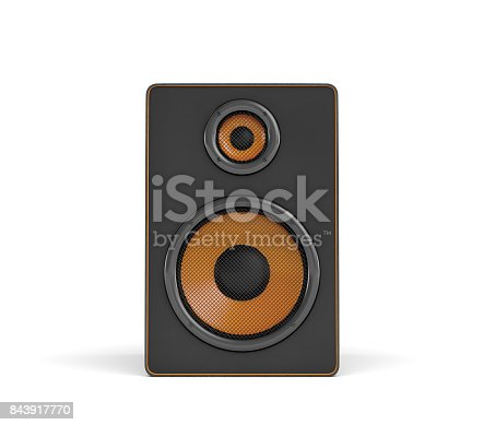 istock 3d rendering of a large black stereo box with two round speakers on white background 843917770