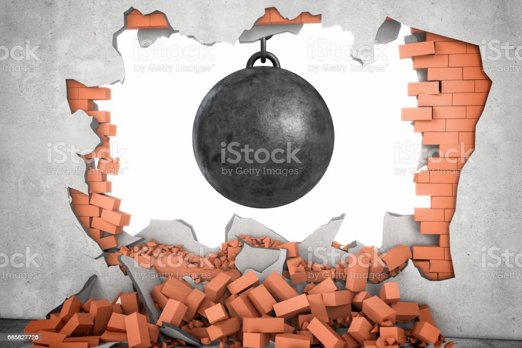 3d rendering of a large black wrecking ball hanging in a hole made in a brick wall with many bricks lying around stock photo