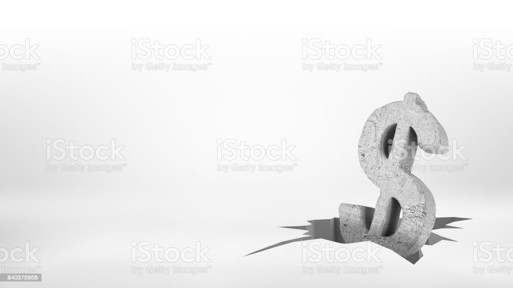 3d rendering of a large concrete dollar sign half-fallen inside a large surface earthquake crack stock photo