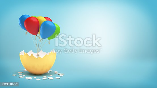 istock 3d rendering of a large golden eggshell cracked to reveal a bundle of colorful balloons on a ribbon 839010722