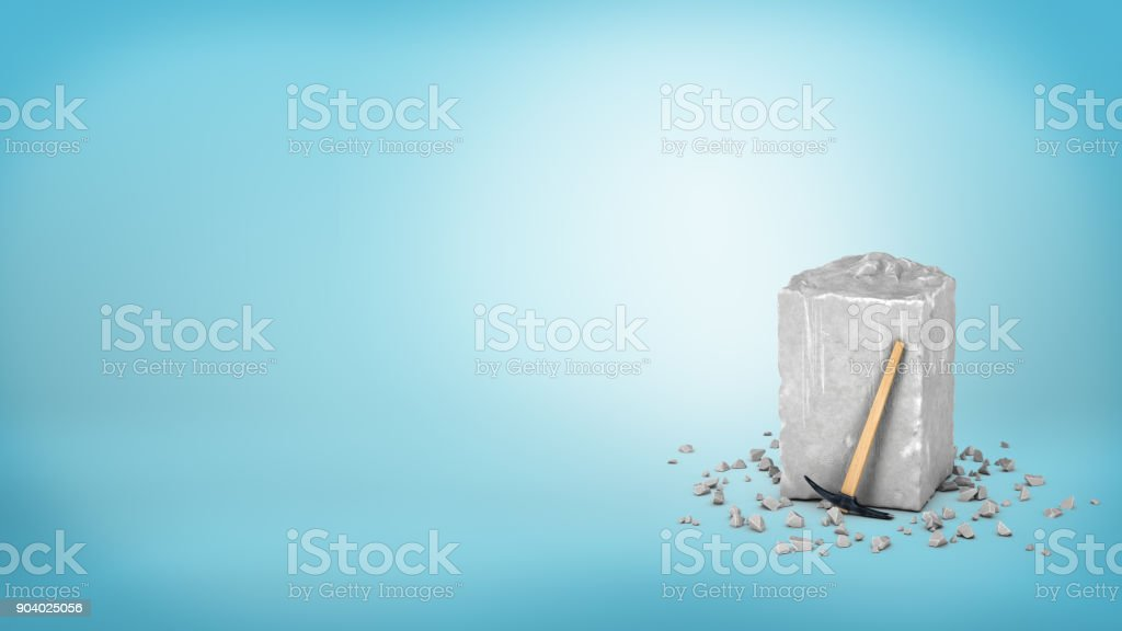 3d rendering of a large grey piece of rough grey stone with a small hammer leaning on it on blue background stock photo