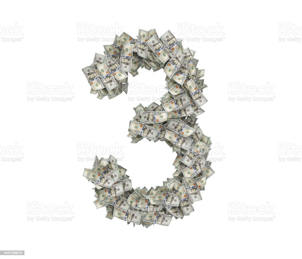 3d rendering of a large number 3 made of countless 100 dollar bills on a white background stock photo