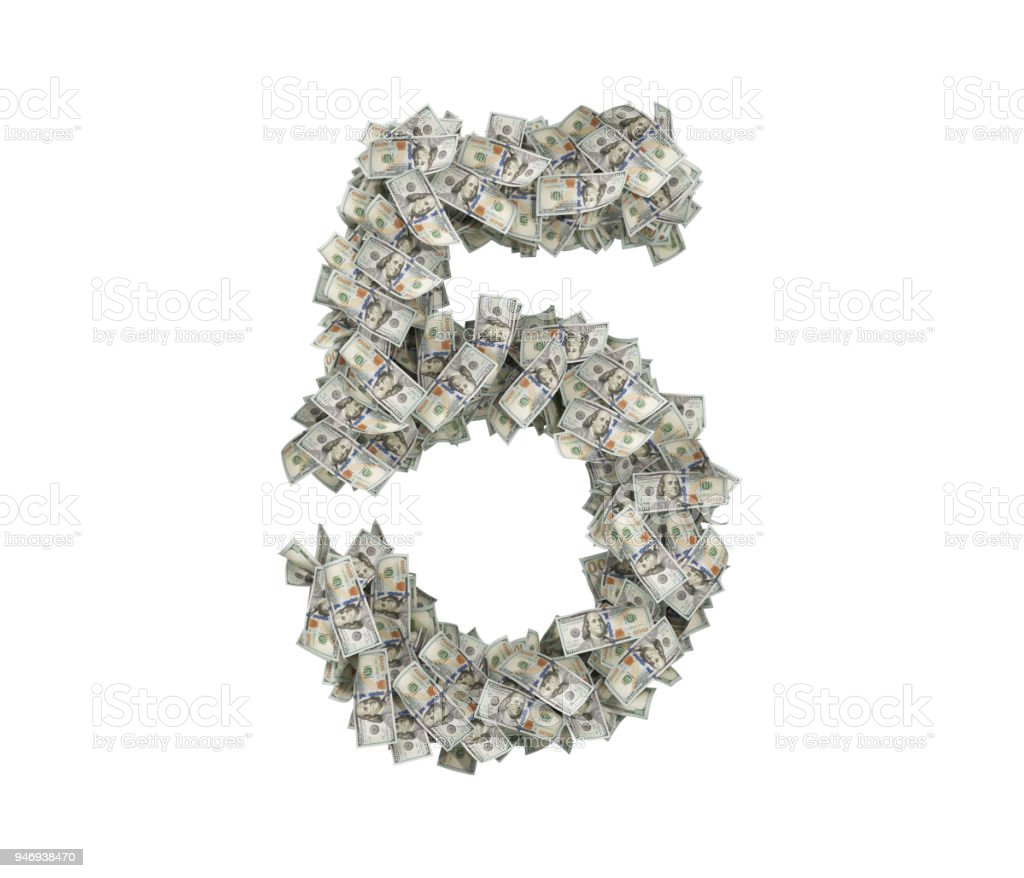 3d rendering of a large number 5 made of countless 100 dollar bills on a white background stock photo