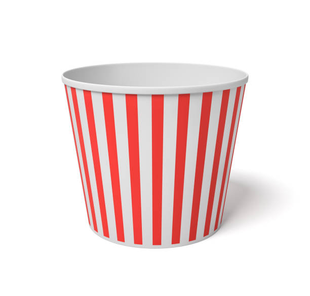 3d rendering of a large popcorn bucket with red and white stripes standing completely empty on a white background 3d rendering of a large popcorn bucket with red and white stripes standing completely empty on a white background. Movie night. Empty carton bucket. Snacks to fill. bucket stock pictures, royalty-free photos & images