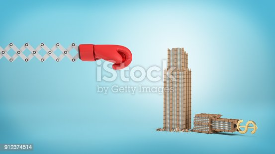 160558362 istock photo 3d rendering of a large red boxing glove on a scissor arm near a small broken business building on a blue background 912374514