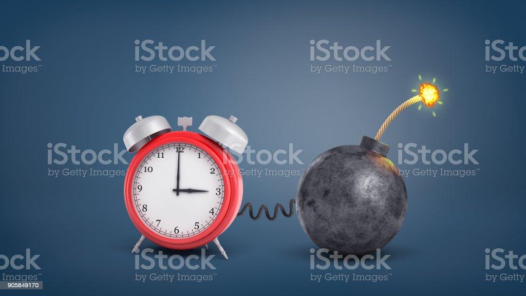 3drendering Einer Großen Roten Retroalarm Uhr Durch Draht Zu Einer ...