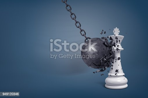 istock 3d rendering of a large wrecking ball breaks in small pieces when it hits a white chess king 949120346