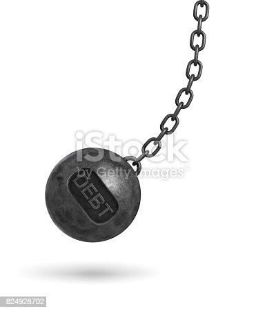 istock 3d rendering of a large wrecking ball with a lettering DEBT swinging on a chain on white background 824928702