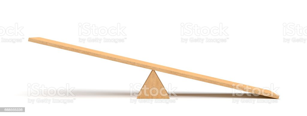 3d rendering of a light wooden seesaw with the right side leaning to the ground on white background stock photo