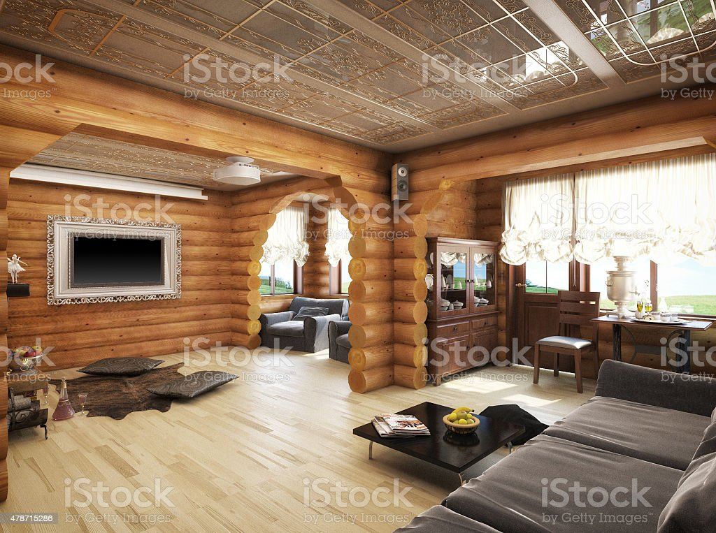3d rendering of a living room. House from logs stock photo