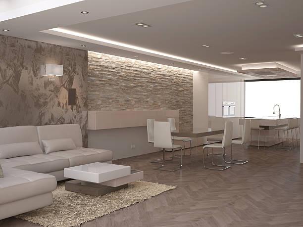 3 d abbildung von einem wohnzimmer interior design - verputz stock-fotos und bilder