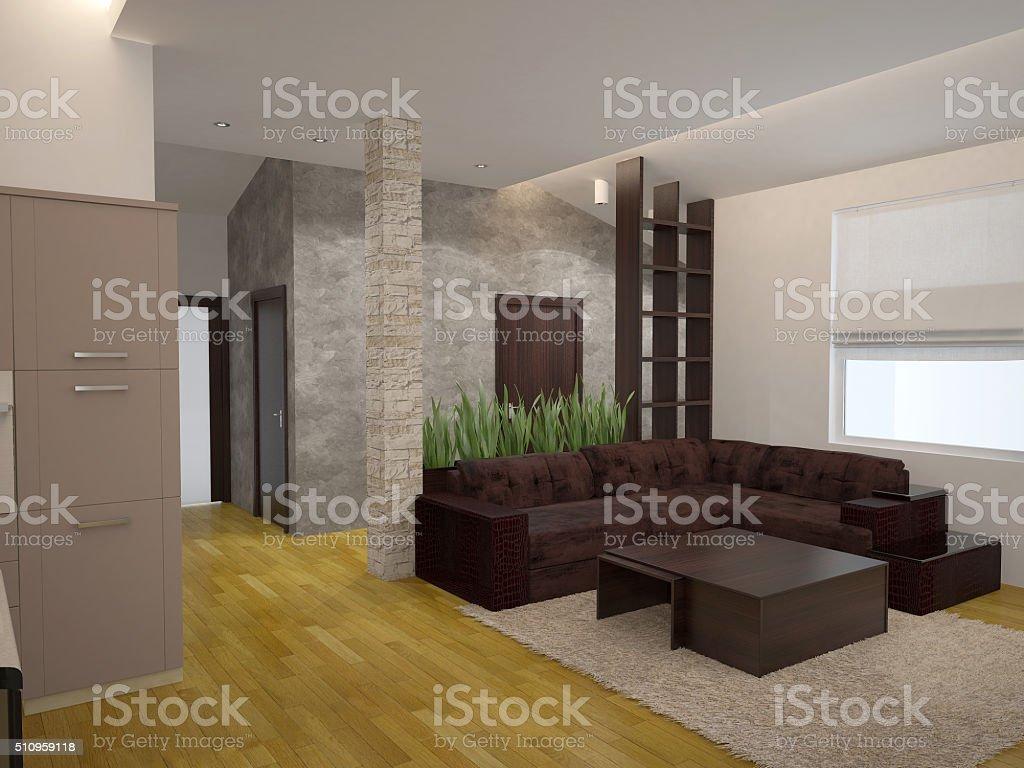 거실 인테리어 디자인의 3d 렌더링 - 스톡 사진  iStock