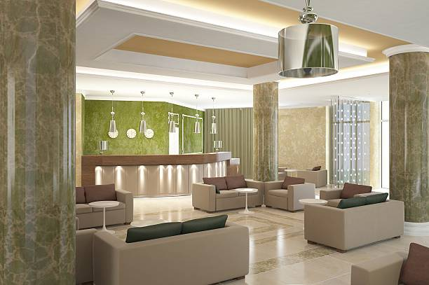 3 d abbildung eines lobby-bar-design - club sofa stock-fotos und bilder