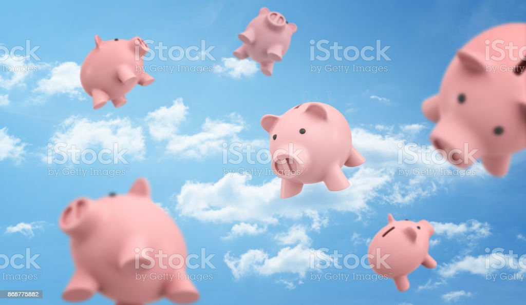 3d rendering of a many pink piggy banks flying freely on the blue cloudy sky background. stock photo