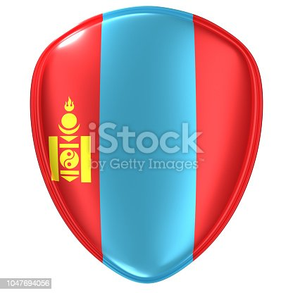 istock 3d rendering of a Mongolia flag icon. 1047694056