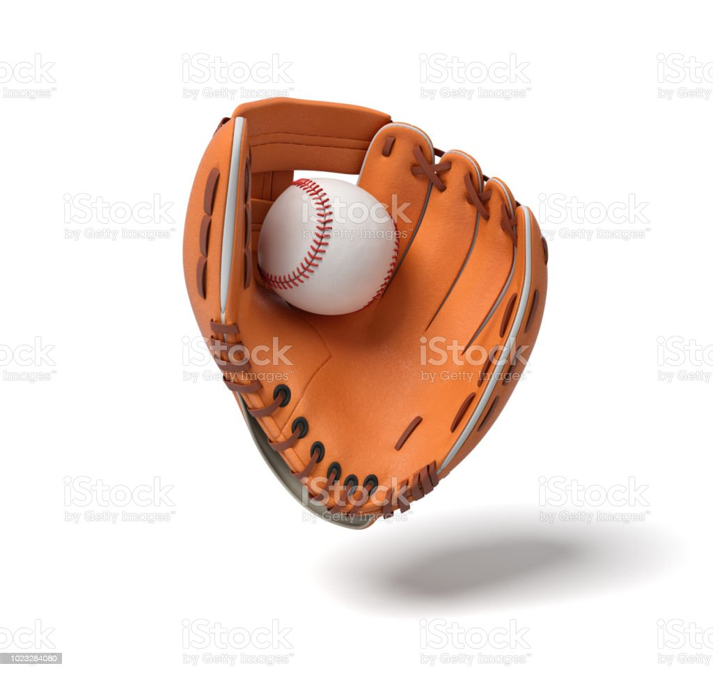 3d rendering of a new orange baseball mitt hanging on the white background with a white ball inside it stock photo