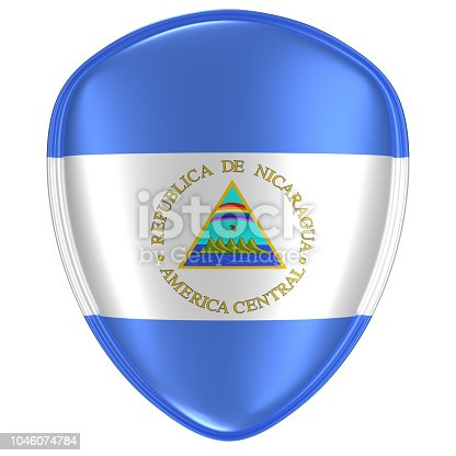 istock 3d rendering of a Nicaragua flag icon. 1046074784