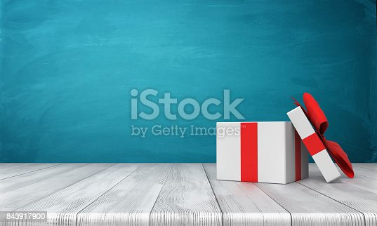istock 3d rendering of a open white gift box with a red bow standing on a wooden desk in front of a blue background 843917900