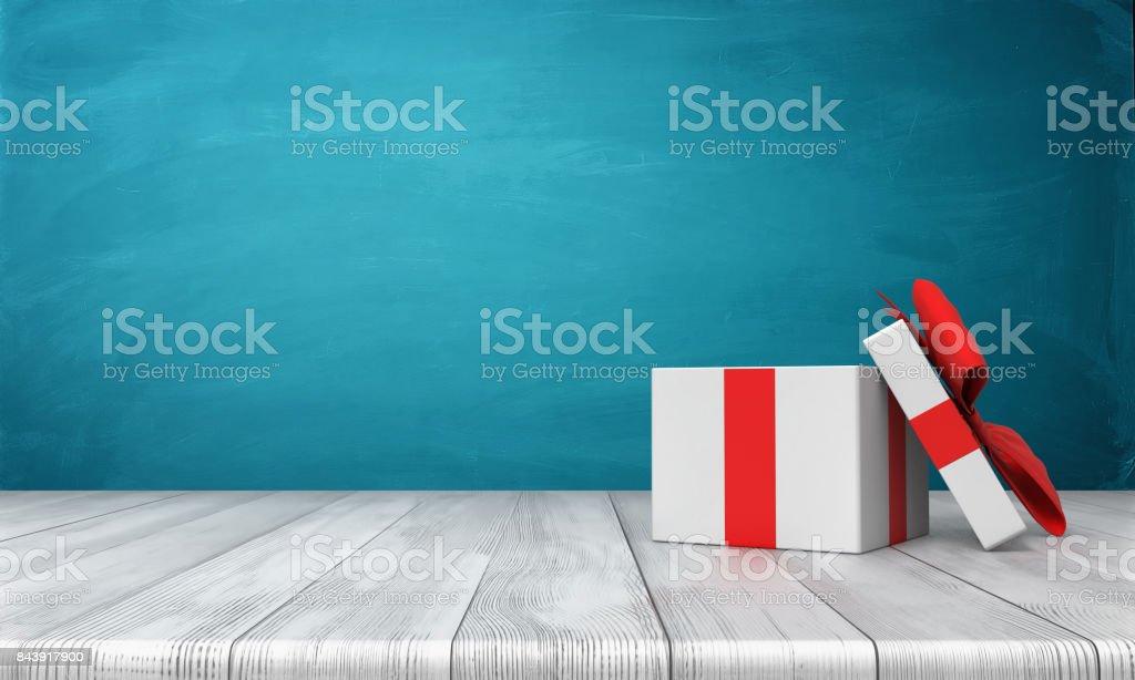 rendu 3D d'un coffret blanc ouvert avec un permanent arc rouge sur un bureau en bois devant un fond bleu - Photo