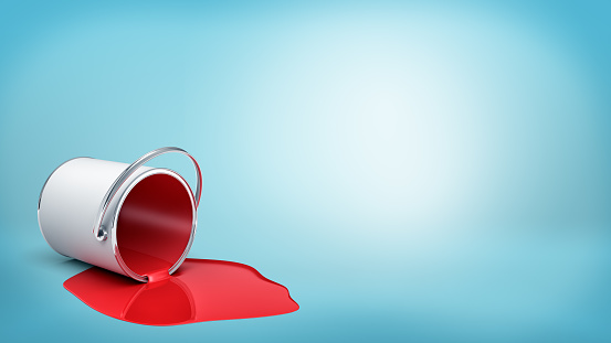 3d rendering of a overturned metal bucket with red paint leaking out in a puddle on blue background.