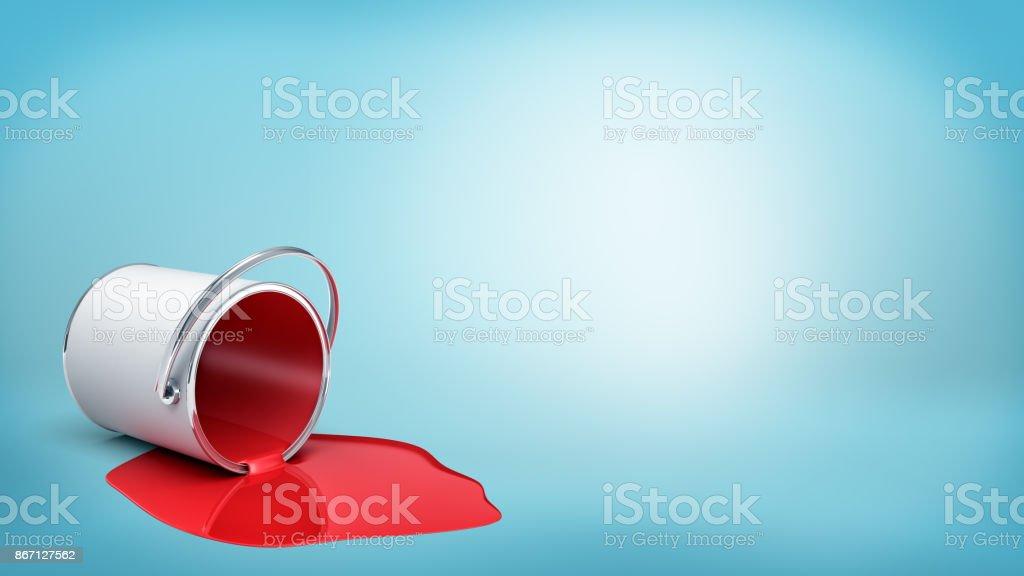 renderização 3D de virado balde metálico com tinta vermelha, vazando para fora em uma poça no fundo azul. - foto de acervo