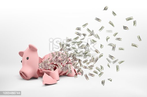 istock 3d rendering of a pink broken piggy bank lying on a white background with many dollar banknotes flying out of it. 1053486744