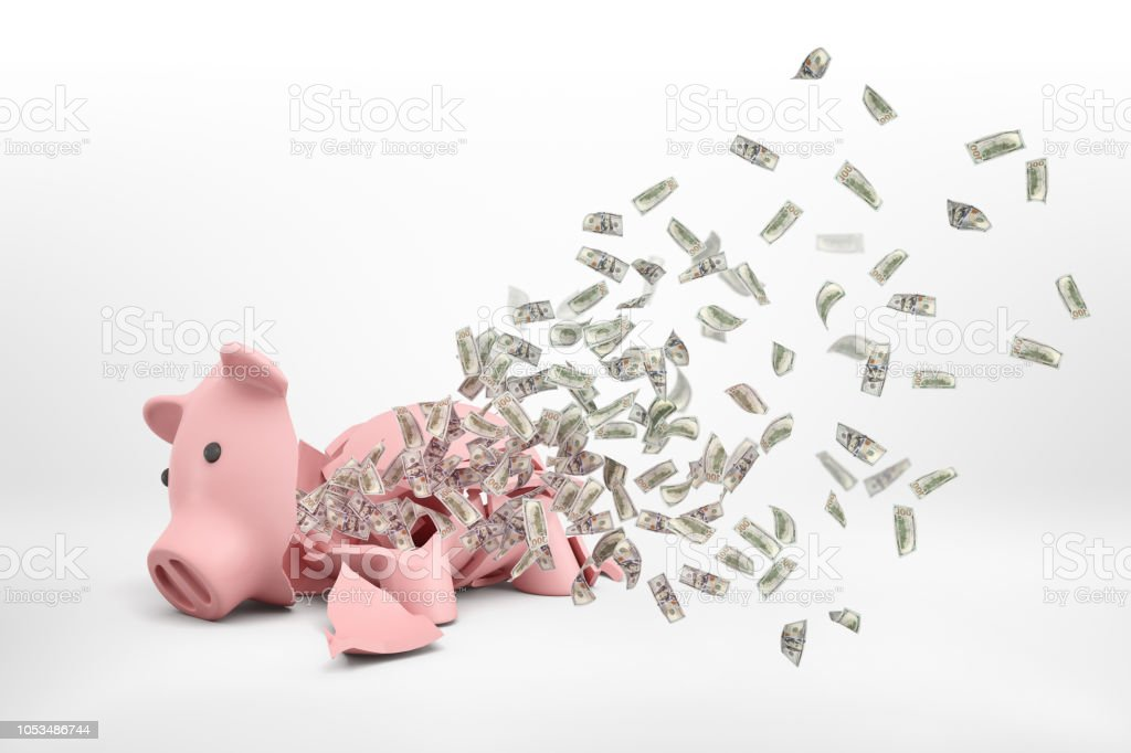 3d rendering of a pink broken piggy bank lying on a white background with many dollar banknotes flying out of it. stock photo