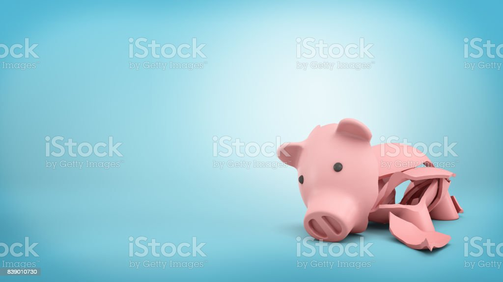 3d rendering of a pink ceramic piggy bank completely broken up into several large pieces stock photo