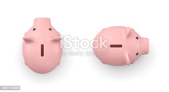 3d rendering of a pink ceramic piggy bank in top view isolated on white background. Money and savings. Personal banking. Childrens allowance.