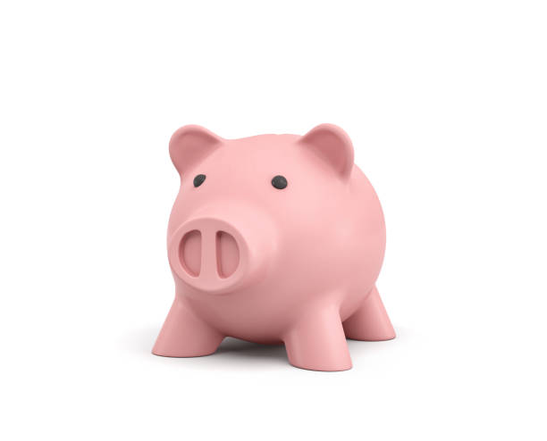 3d rendering of a pink ceramic piggy bank isolated on white background stock photo