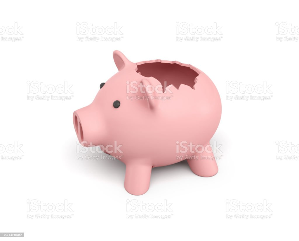 3d rendering of a pink ceramic piggy bank with a broken top on white background stock photo
