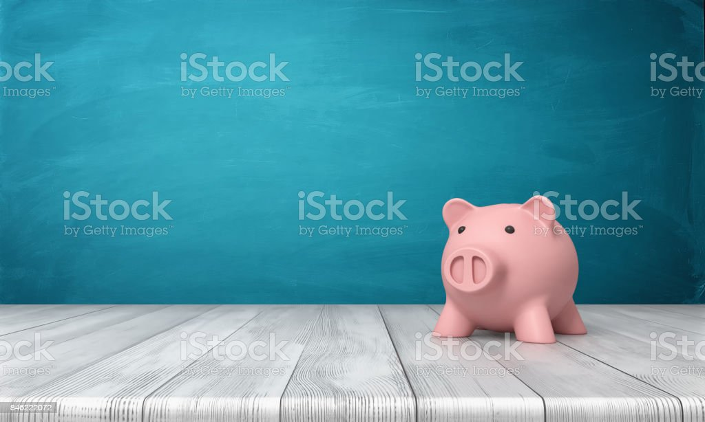 3d rendering of a pink piggy bank in front view standing on a wooden table – zdjęcie
