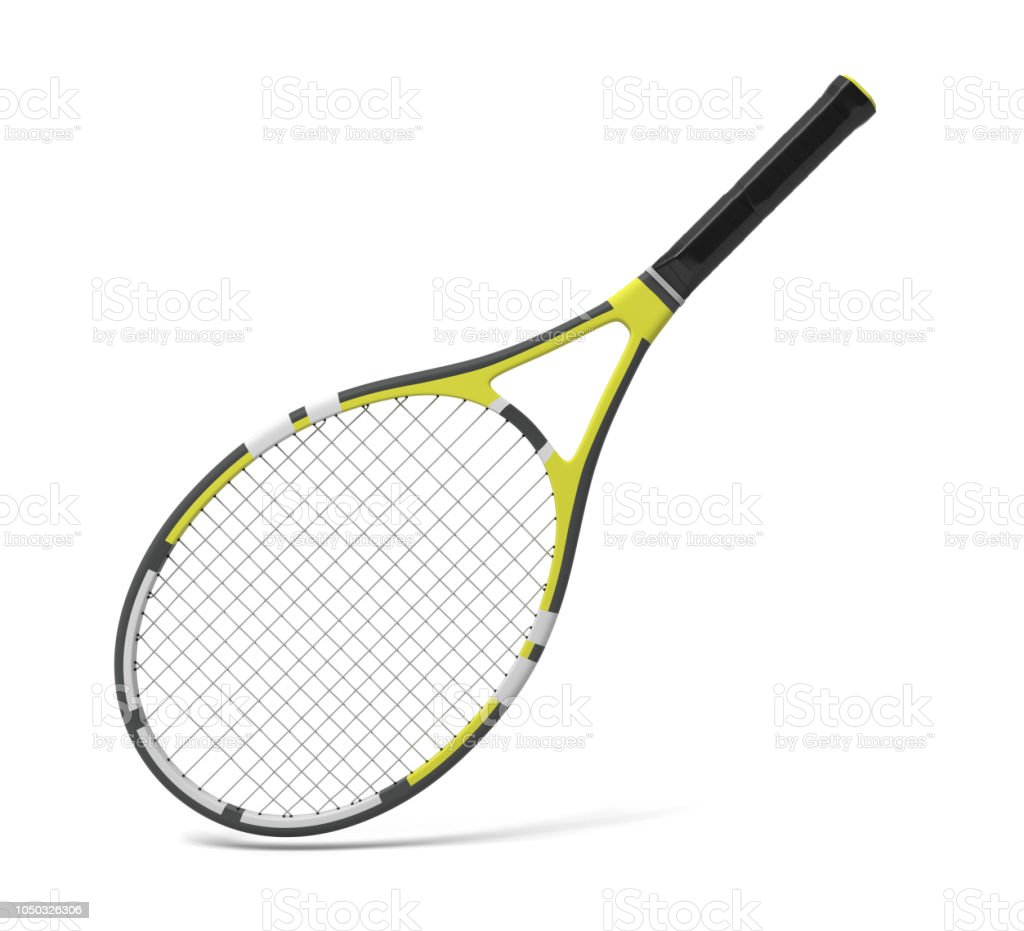 3d rendering of a professional tennis racquet with black and yellow stripes. royalty-free stock photo